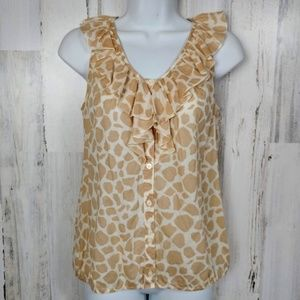 🌿 LOFT Ruffle Neckline Sleeveless Blouse Giraffe
